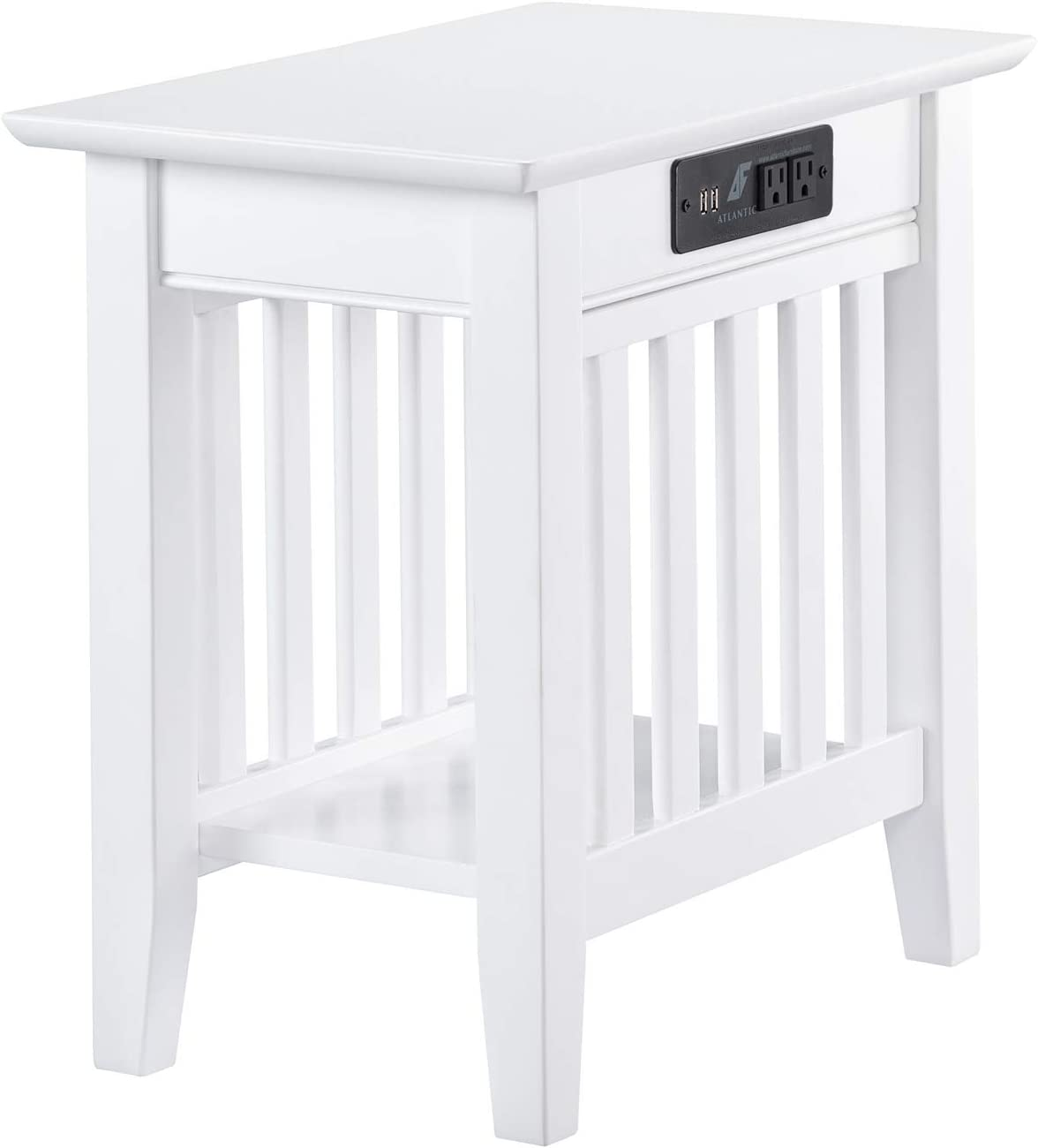 Atlantic Furniture AH13212 Mission Chair Side Table with Charging Station, White