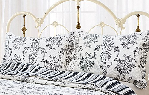 Cozy Line Home Fashions King Shams 20''x 36'',French Medallion Black White Pattern Printed 100% Cotton Quilted Pillow Sham, Gifts for Women Men (Black White, King Shams (Set of 2)) (French Quilted Pillow)