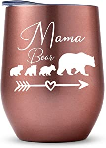 Gifts for Mom from Daughter & Son, Mama Bear with 3 Cubs, Mother Day's Birthday Gift for Mother Grandma, I Love You Present for New Moms, Stepmom, Bonus Mom -RoseGold3Kids