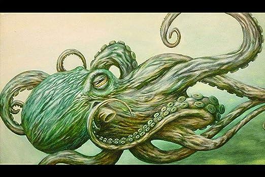 Pulpo por Jon Hoffman verde Kraken tentáculos Fine Art diseño de ...