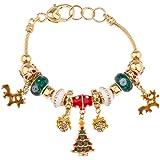 Lux Accessories Reindeer Heart Lock Charm Bracelet Xmas Christmas Tree