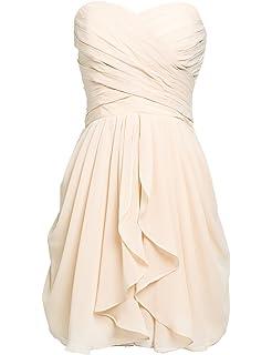 3e784826a51 Clearbridal Femme Courte en Mousseline de Soie Prom Robes de fête Robe de  Demoiselle d