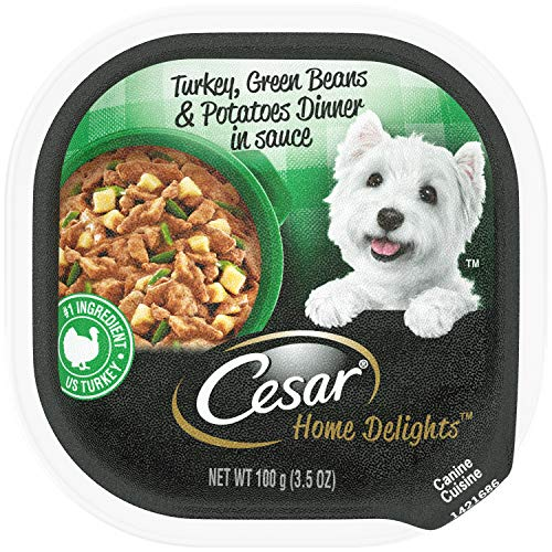 CESAR HOME DELIGHTS Wet Dog Food Turkey, Green Beans & Potatoes Dinner in Sauce, (24) 3.5 oz. - Green Potato