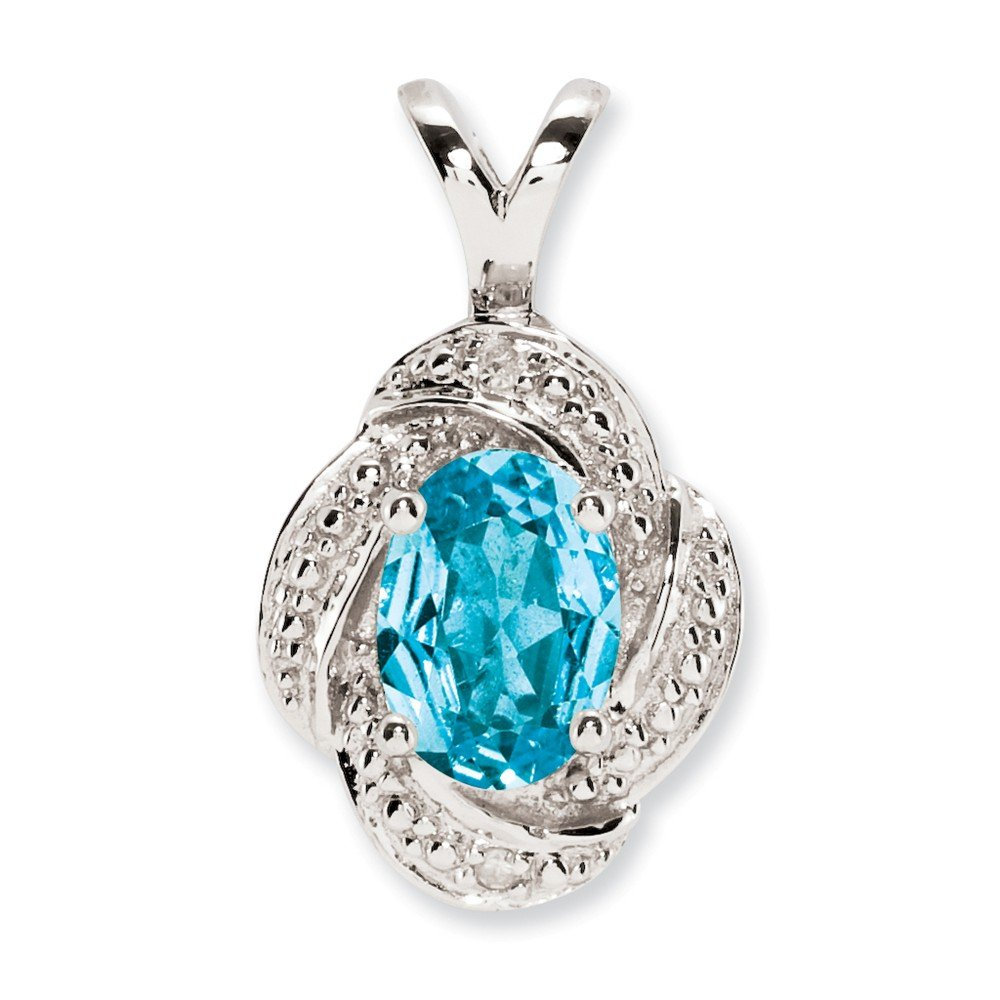 Sterling Silver Diamond /& Blue Topaz Pendant