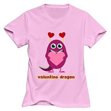 Amazon.com: Valentine Dragon Geek Roundneck Pink Shirts For Womens ...