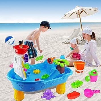 Juguetes para niños en el mar Barco Pirata del mar, Juguetes creativos de Rompecabezas Barco Pirata Mesa de Playa Mesa de Billar Juego al Aire Libre Juguete Grande Viaje para niños Juguete: