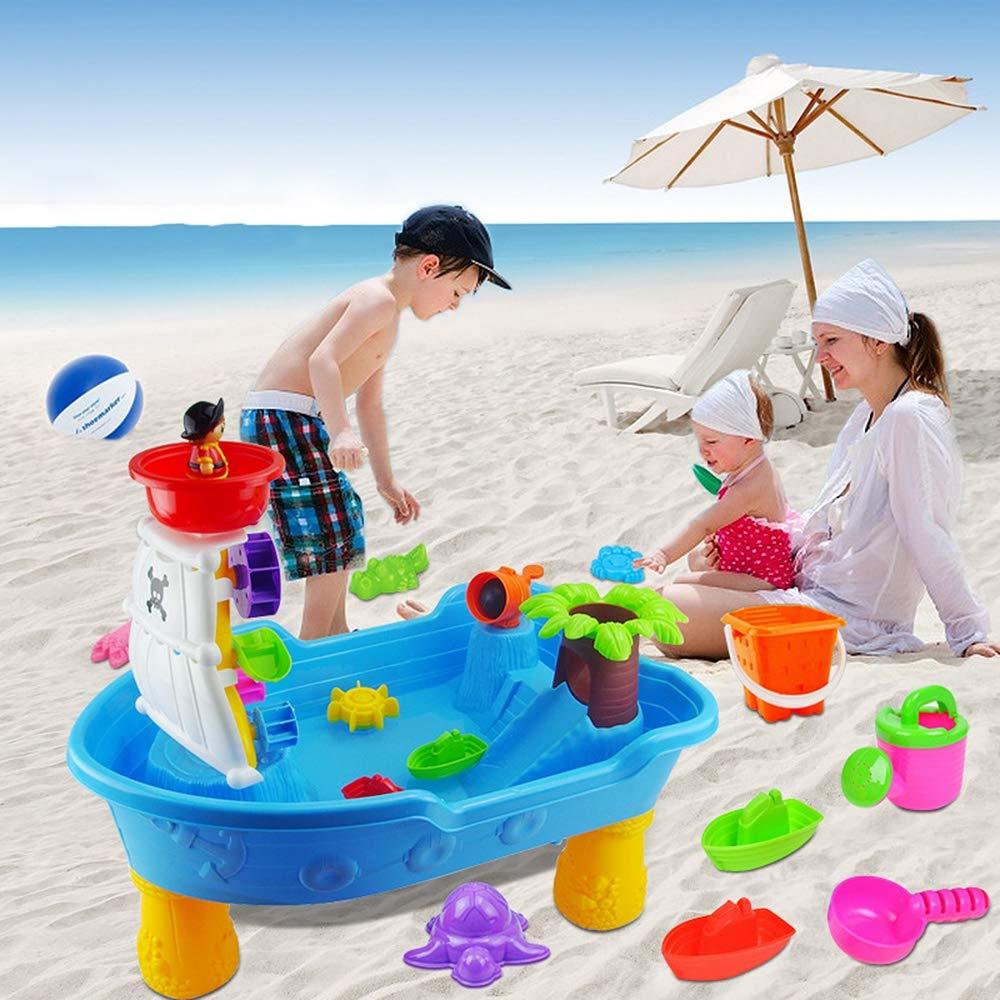 Kids Beach Sea Pirate Ship Toys, Creative Puzzle Toys Pirate Ship Beach Table Pool Table Outdoor Play Large Toy Travel Kids Toy Set