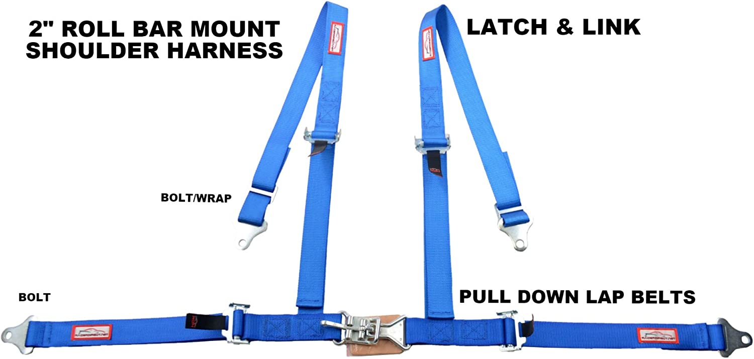 Racerdirect Four Point Racing Buggy Harness Push Button Buckle ROLL BAR Mount Harness Blue