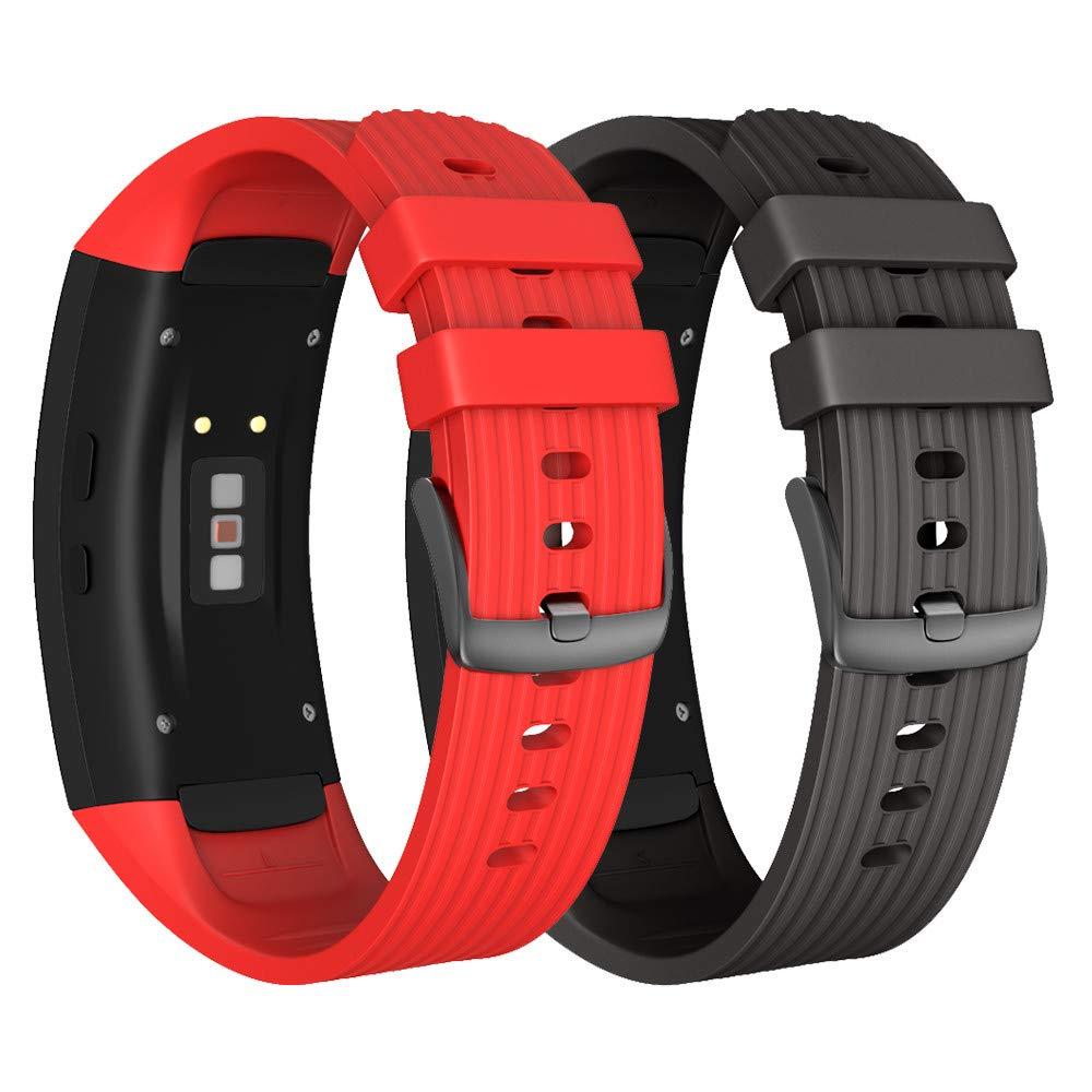 NotoCity Correa para Samsung Gear Fit 2 / Gear Fit 2 Pro Silicona Pulsera de Repuesto (L, Negro+Rojo)