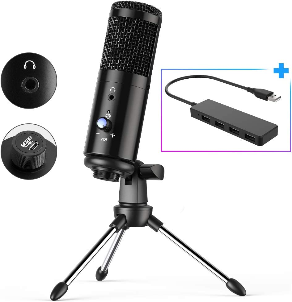USB Microphone with Headphone Monitor Jack for Mac & Windows Computer Mic for Recording,Streaming,Voiceover,Gaming,Podcasting Video for YouTube Skype Chats with Adjustable Desktop Tripod & USB2.0 HUB