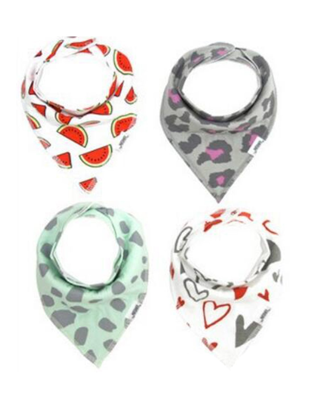 Bronze Times(TM)4Pcs Cotton Absorbent Drool Bandana Baby Bibs for Baby,Red+Grey