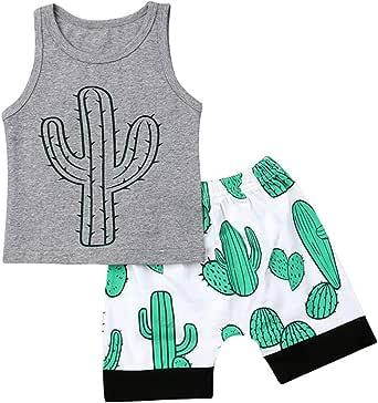 2 Pcs Baby Boys Summer Clothing Cute Mamas Boy Sleeveless Tank Tops T-Shirt+Palm Shorts Outfits Sets