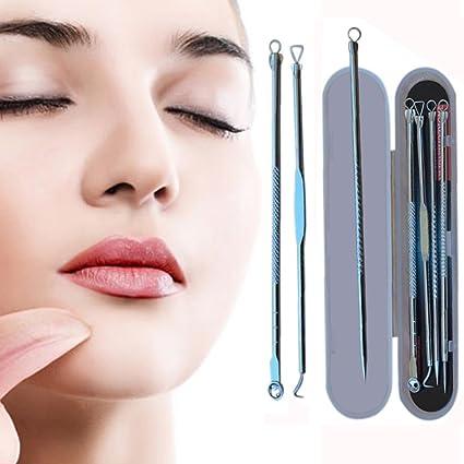 Momola multifunción Lady acero inoxidable Blackhead acné mancha Pimple extractor Remover Aguja – un conjunto de