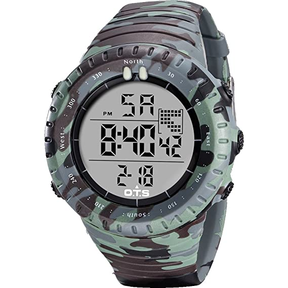 Mifusanahorn Reloj Digital para Hombre, Deportivo, Militar, retroiluminado, Reloj para Exteriores,