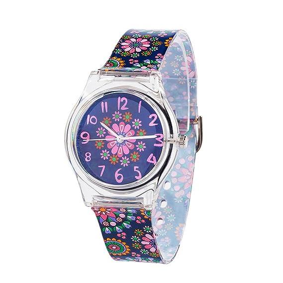 Reloj de pulsera para niños y adolescentes ideal para aprender las horas, con correa de silicona, color negro y motivo floral pequeño: Amazon.es: Relojes