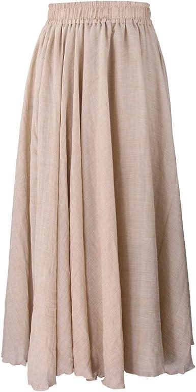 Evedaily Jupe Longue de Plage Elégante Classique Femme Long Skirt Taille Elastique En Coton Lin