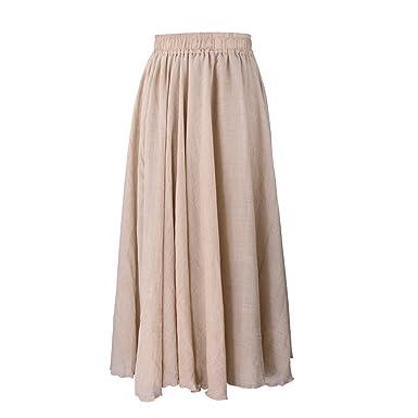 6c0bd087a3e0a Evedaily Femme Rétro Couleur Solide Maxi Longue Jupe de Plage Elégante Eté  Taille Elastique