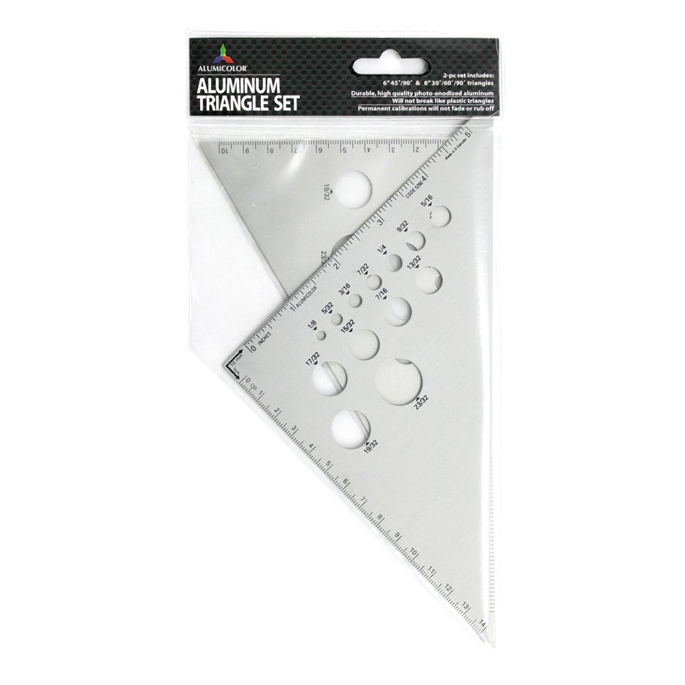 Alumicolor Calibrated Triangle Set: 6 inch 45-90 Degree and 8 inch 30-60-90 Degree Triangles, Aluminum, Silver (5200-1)