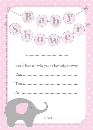 Baby Shower Invitaciones Lindo Diseño Del Elefante Tarjetas De 16