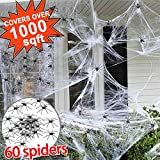 1000 sqft Halloween Spider Web Decorations, Super Stretch Giant Spider Web with 60 Fake Spiders Halloween White Webbing Spooky Cobwebs Party Supplies Indoor Outdoor Decorations for Bar Haunted House
