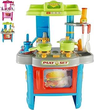 Cucina Giocattolo Per Bambini Con Effetti Luce E Suono L P A Ca 42 27 5 60 Cm In Plastica Con Stoviglie Cucina Per Bambini Cucina Da Bambina Blu Amazon It Giochi E Giocattoli