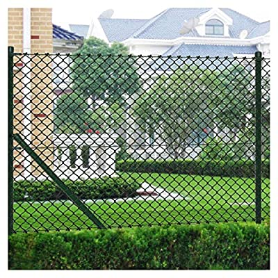 """K&A Company Fence Panel, Chain Link Fence with Posts Galvanised Steel 59.1""""x 984.3"""" Green"""