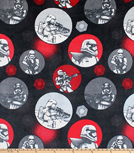 Eugene Textiles Star Wars Startrooper Circles Fleece Black Fabric by The Yard ()