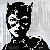 MR.BABES - ''Batman Returns: Catwoman (Michelle Pfeiffer)'' - Original Pop Art Painting - Comic Book Movie Portrait