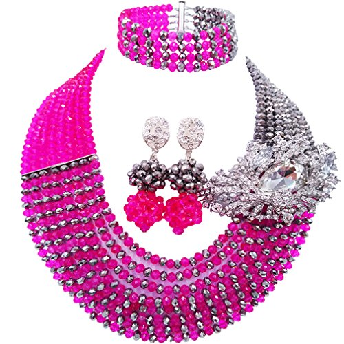 aczuv 8 Rows African Bead Necklace Jewelry Set for Women Nigerian Wedding Bridal Jewelry Sets (Hot Pink Silver) -