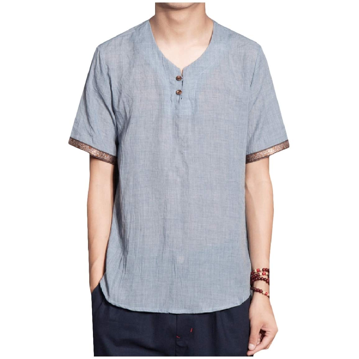 Nicelly Men Chinese Style Short-Sleeve Baggy Style Retro Style Tops Shirt