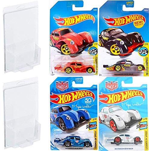 AYB VW Racer Volkswagen Kafer Series Hot Wheels First Edition Speed Graphics Black & Red Variants + Magnus Walker Urban Outlaw Blue & White 4 Bundle in Protective Cases