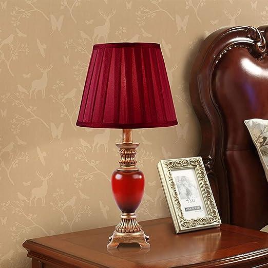 Yuany Lámpara de Mesa pequeña con Estilo roja Lámpara de mesita de ...