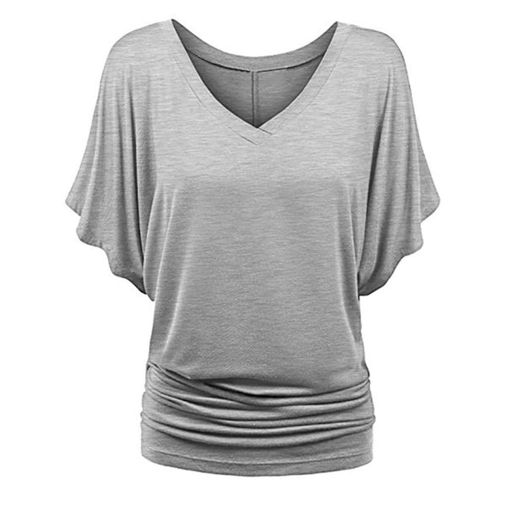 Western Shirts for Women, Vintage Tops for Women 1950S,Fashion Women Plus Size Solid V-Neck Short Sleeve Ruched Top Blouse T-Shirt Gray