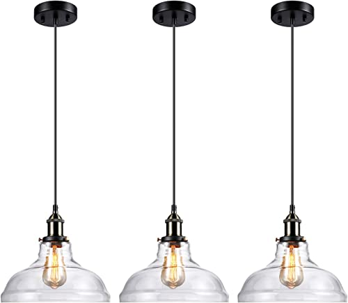 LEONLITE Industrial Pendant Light Fixture Clear Glass Kitchen Island Lamp, UL Listed, E26 Base, Edison Vintage Style Hanging Lampshade, Adjustable Height, for Dining Room, Restaurant, Cafe, Pack of 3