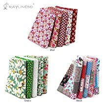 """RayLineDo® 15 Pcs Different Pattern Multi Color 100% Cotton Poplin Fabric Fat Quarter Bundle 18"""" x 22"""" Patchwork Quilting Fabric Green Red and Lattice Series"""