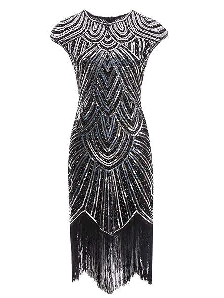 Kaiyei Delle Donne 1921 s Diamante Paillettes Abbellito con Frange Grande  Gatsby Flapper Vestito retrò Nappa c16933cf3db