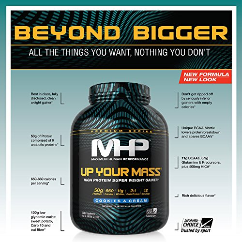 MHP Up Your Mass High Protein Super Weight Gainer, Cookies and Cream, 4.6 Pound by Maximum Human Performance (Image #2)
