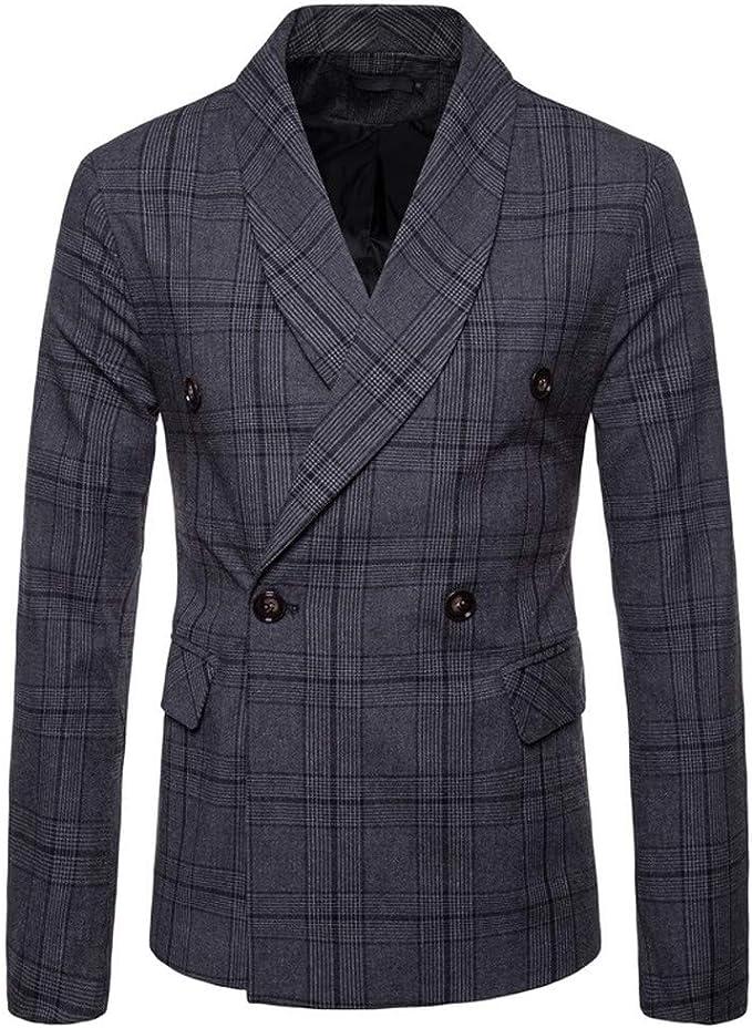 Battnot Herren Anzug Slim Fit Fashionable Checked Zweireiher Knopfgitter Langarm Suit Blazer, Männer Mantel für Geschäft Hochzeit Party Business Jacke