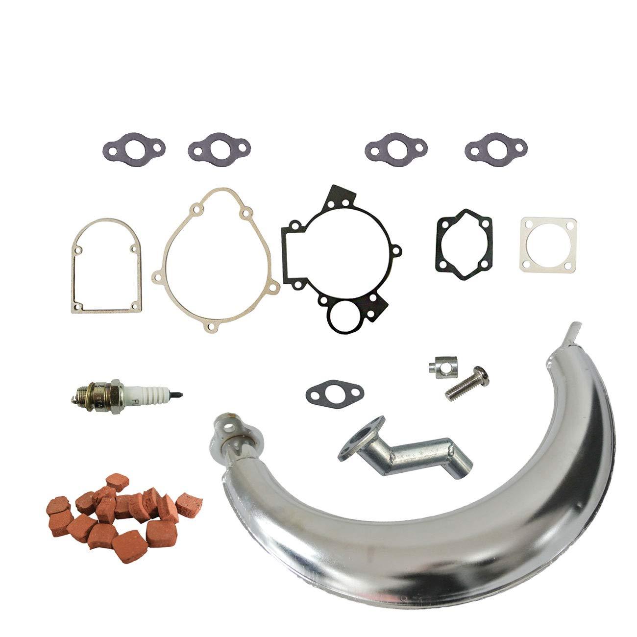 sthus Muffler Exhaust/&15pcs Square Clutch Pads for 66cc 80cc Engine Motorized Bike