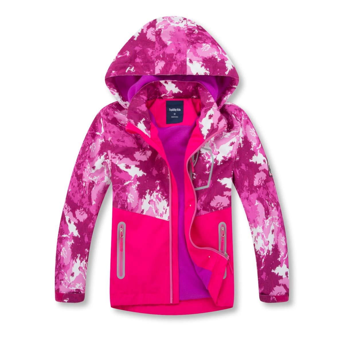 Girls Rain Jackets Lightweight Waterproof Hooded Raincoats Windbreakers for Kids Red 7/8 by ChooTeeYeen