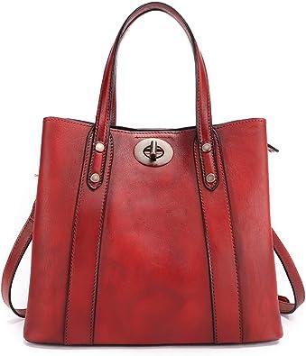 Women Vintage Genuine Leather Bag Handbag Tote Shoulder Bags Crossbody Trendy