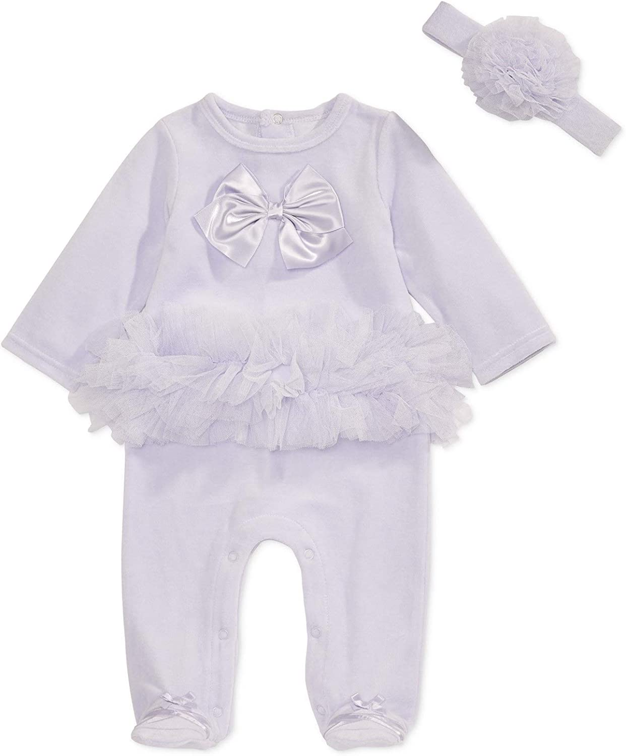 0-3 Months First Impressions Baby Girls 2-Pc Ballerina Footed Coverall /& Headband Set