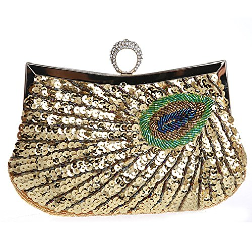 Feathers Belsen Sequin Peacock Women's Wedding Gold Ring Bags Beaded Evening xwPa7x