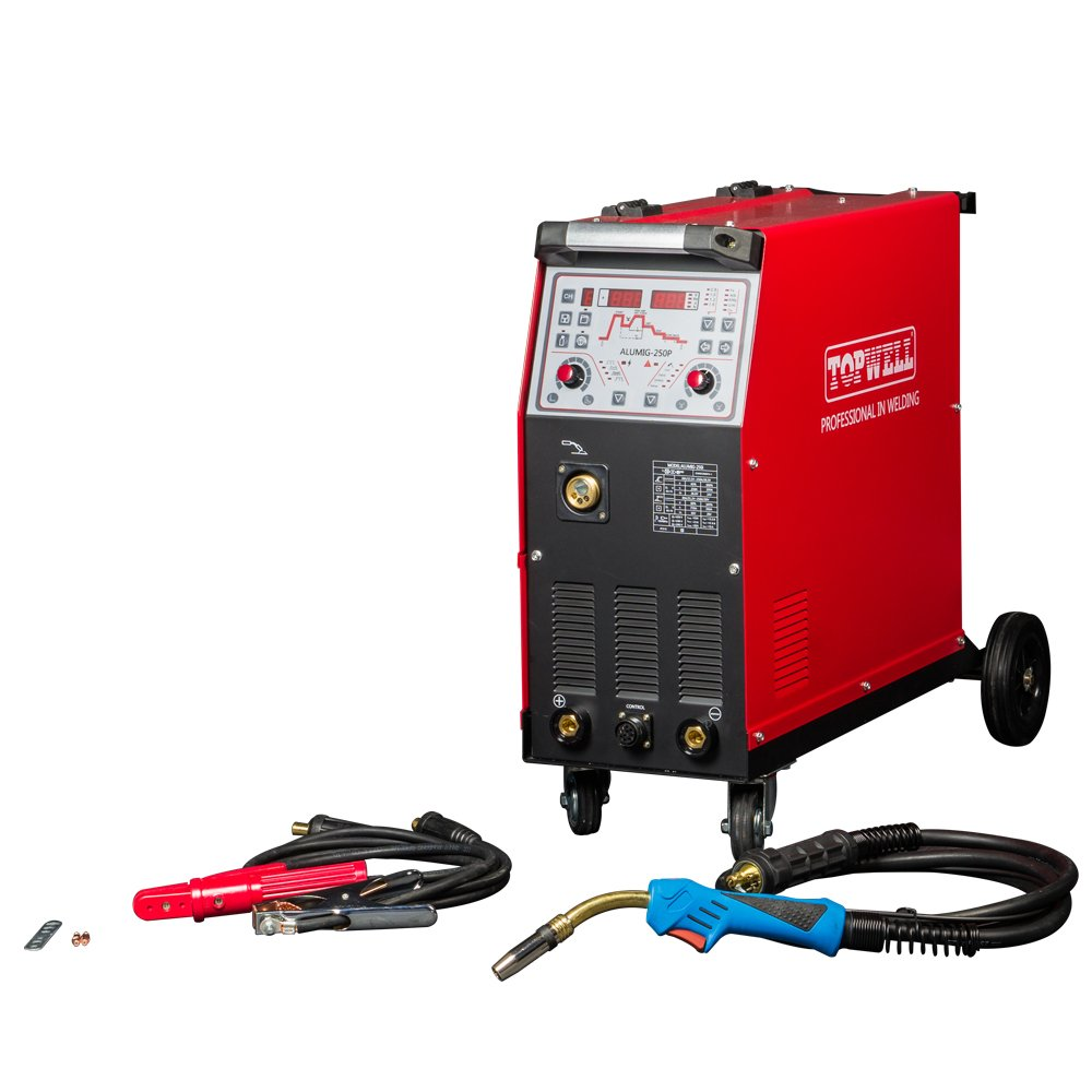 Topwell 250a Double Pulse Mig Welder With Synergic System Lincoln Invertec 275 Parts Aluminum Welding