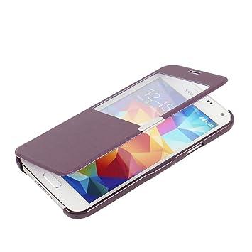 MTRONX para Funda Samsung Galaxy S5 Mini, Cover Case Carcasa Caso Ventana Vista Ultra Folio Flip Delgado PU Cuero con Cierre Magnetico para Samsung ...