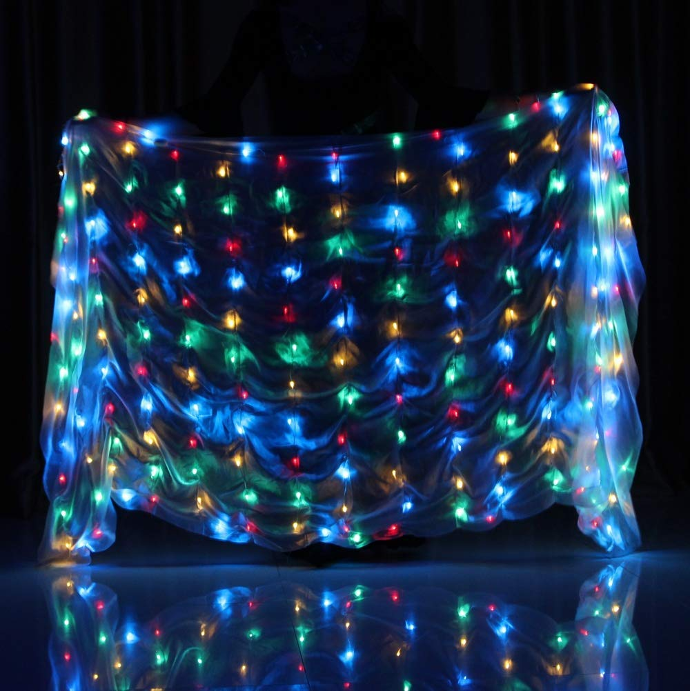 color Belly Dance Props LED Silk Scarf Dance Performance Practice Props Hand Throw Shawl Dance LED Glow Scarf
