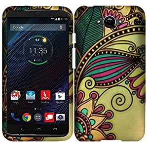 Motorola Droid Turbo Case, Insten® Rubberized Design Cover Case Compatible with Motorola Droid Turbo, Antique Flower