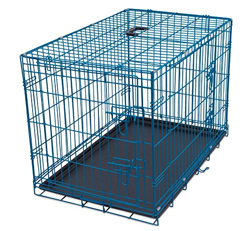 Internet's Best Wire Dog Kennel | Medium (36 Inches) | Double Door Metal Steel Crates | Indoor Outdoor Pet Home | Folding and Collapsible Cage | Blue (Breeder Cage Lock Double)