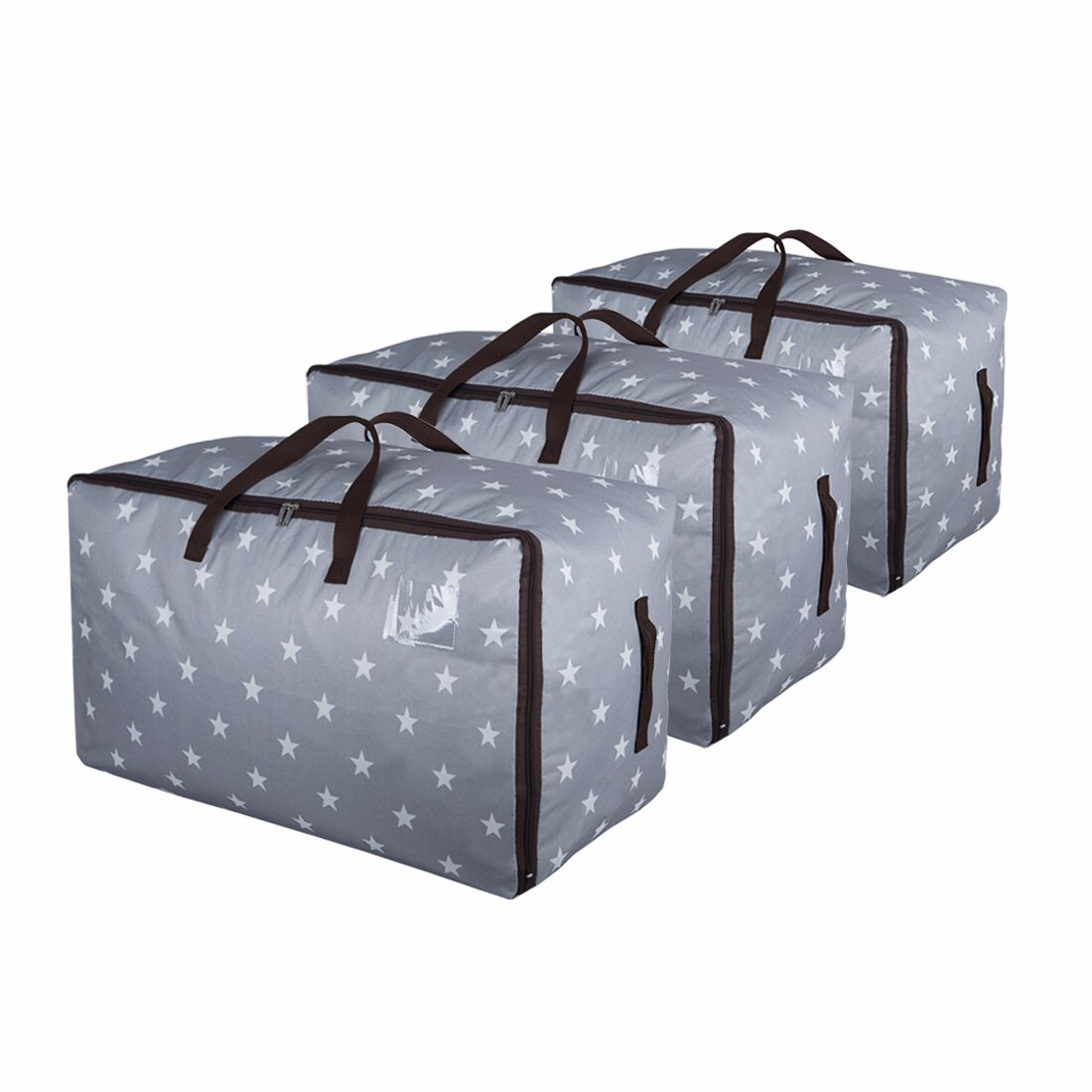 DOKEHOM 3-Pieces 100L Large Storage Bag, Fabric Clothes Bag, Thick Ultra Size Under Bed Storage, Moisture proof (Grey, Set of 3)