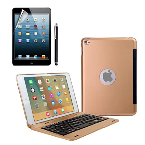 iPad Mini 4 Teclado Funda, dingrich Premium Ultra Slim aluminio ligero Smart funda con teclado inalámbrico ...